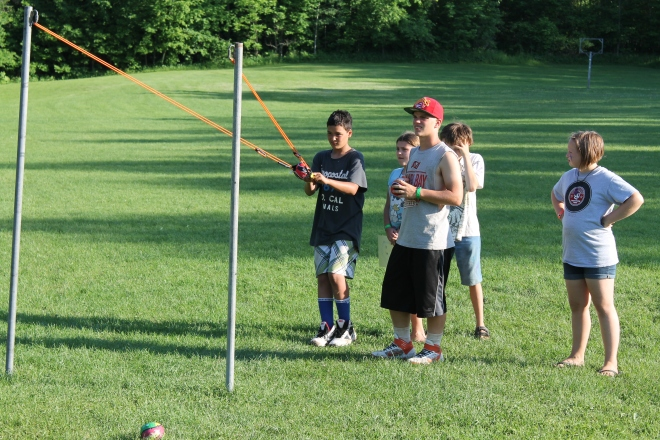 Launching Hula balls at Wes